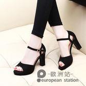 魚口涼鞋/粗跟女夏新款韓版百搭高跟鞋防水台一字扣女鞋子「歐洲站」