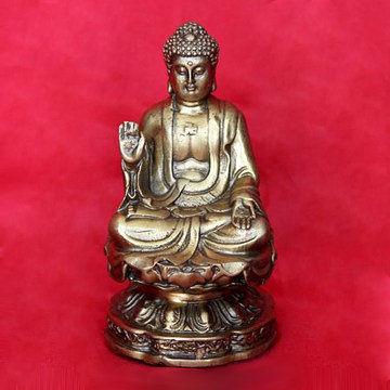 開光銅阿彌陀佛神像擺件