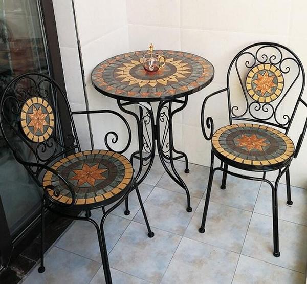 戶外桌椅 鐵藝休閑陽台桌椅小茶幾庭院戶外室外咖啡廳花園歐式三五件套組合CY 自由角落