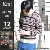 滿版花紋圓領針織毛衣
