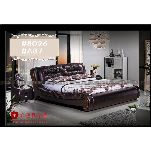 [紅蘋果傢俱] LW 8026 6尺真皮軟床 頭層皮床 皮藝床 皮床 雙人床 歐式床台 實木床