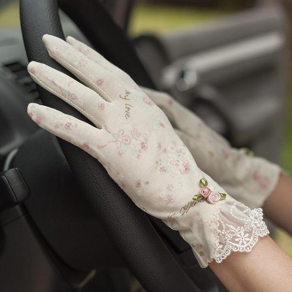 夏女復古玫瑰蕾絲純棉防曬手套 防紫外線開騎車防滑短款透氣薄款【慶新年全館免運】