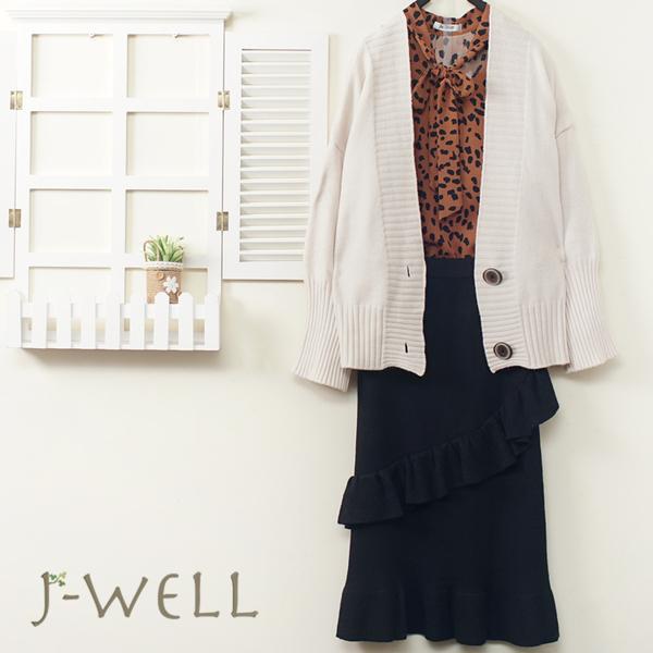 J-WELL V領開襟毛衣豹紋上衣直筒裙三件組(組合A764 9J1151杏粉+9J1031咖+9J1154黑)