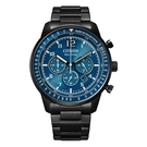 CITIZEN 航站情緣三眼計時腕錶-黑X藍