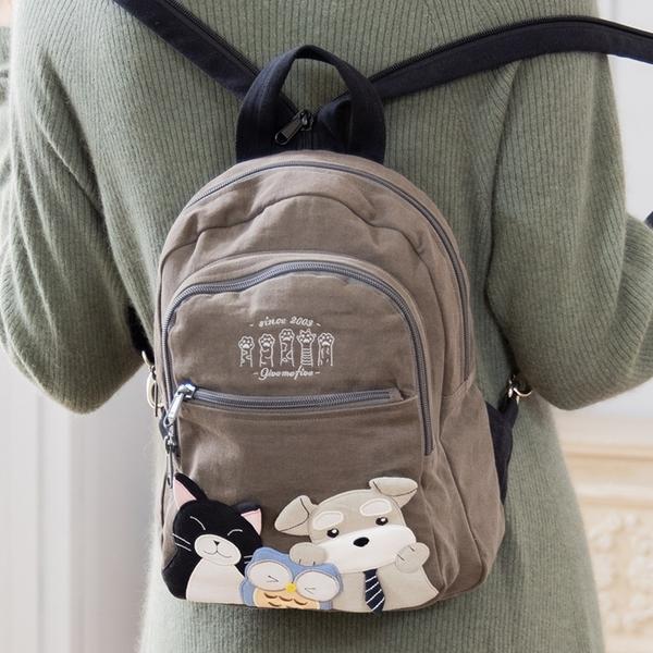Kiro貓‧雪納瑞 雙層 單肩/斜後背包/雙肩後背包【810097】