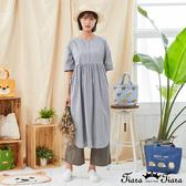 【Tiara Tiara】百貨同步新品aw全  圓領半開襟點點洋裝(藍/灰/卡其)