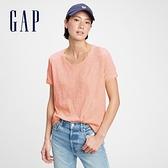 Gap女裝 純棉基本款打底短袖T恤 884314-橙色