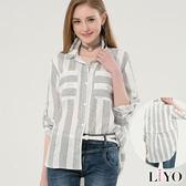 襯衫條紋大口袋OL寬鬆休閒女長袖襯衫LIYO理優L745001