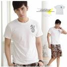 【大盤大】(T55973) 男 白 棉100% 台灣製 純棉T恤 圓領上衣 龍 文字T 潮T套頭上衣【剩M和L號】