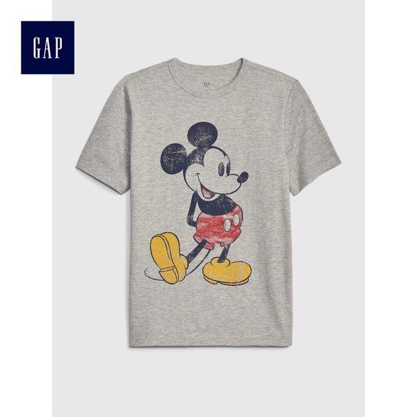 Gap x Disney男童 迪士尼系列米奇印花短袖T恤 469229-淺麻灰