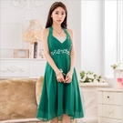 中大尺碼洋裝 L-3XL小禮服韓版雪紡V領縫鑽無袖連衣裙 綠色 #gk9632 @卡樂@