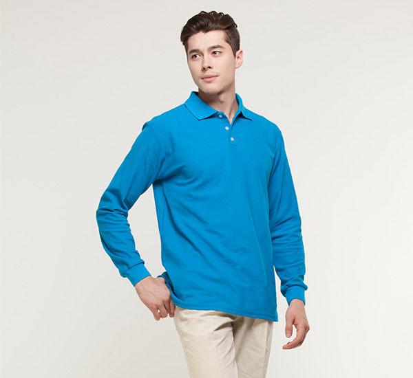 情侶裝長袖polo衫 發熱衣保暖衣 翠藍色 母娘青衣