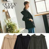Queen Shop【02040585 】素色長袖連帽風衣外套 三色售*現+預*