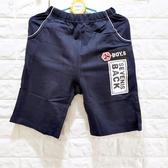 ☆棒棒糖童裝☆(E211182)夏男大童鬆緊腰深藍色貼布中褲 120-170