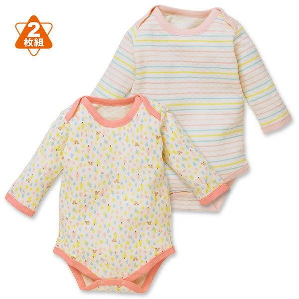 日本西松屋 厚棉活肩式長袖包屁衣二件組 白松鼠 | 女寶寶 | 北投之家童裝【NI0260292】