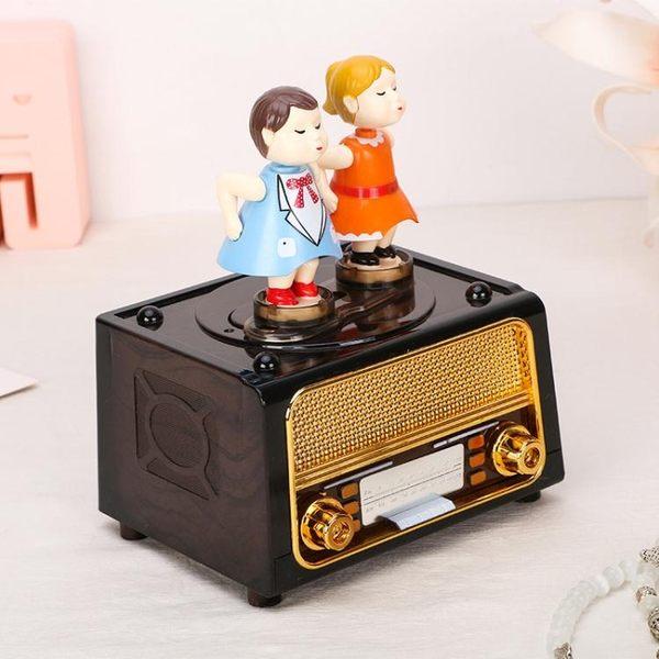 復古收音機情侶吻娃跳舞旋轉娃娃音樂禮物 sxx1221 【大尺碼女王】