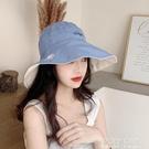 小雛菊漁夫帽女夏天韓版百搭大沿帽遮臉雙面防曬紫外線遮陽帽子潮 夏季新品
