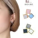 素簡手作《T040》韓國耳環不對稱撞色耳環夾式耳環磁鐵耳環
