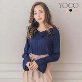 東京著衣【YOCO】浪漫迷人法式甜美荷葉領雪紡上衣-S.M.L(171916)