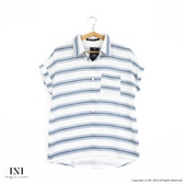 【INI】簡約清新、條紋休閒配色寬版綿麻衫.藍色