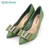 【Bo Derek 】蝴蝶結鑽飾尖頭高跟鞋-綠色