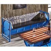 【森可家居】加侖藍色仿舊油桶皮沙發(三人座) 7JF154-2  工業風LOFT 皮沙發