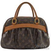 茱麗葉精品 二手精品 【7.8成新】Louis Vuitton LV M40058 經典花紋皺摺手提包
