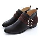 全真皮拼接雙帶飾釦短靴-深咖啡色‧karine(MIT台灣製)