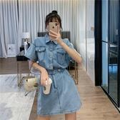 牛仔洋裝 韓國夏季時尚收腰顯瘦帥氣口袋機車牛仔連身裙女通勤-Ballet朵朵