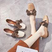 平底單鞋女奶奶鞋蝴蝶結方頭春秋女鞋低跟仙女第七公社