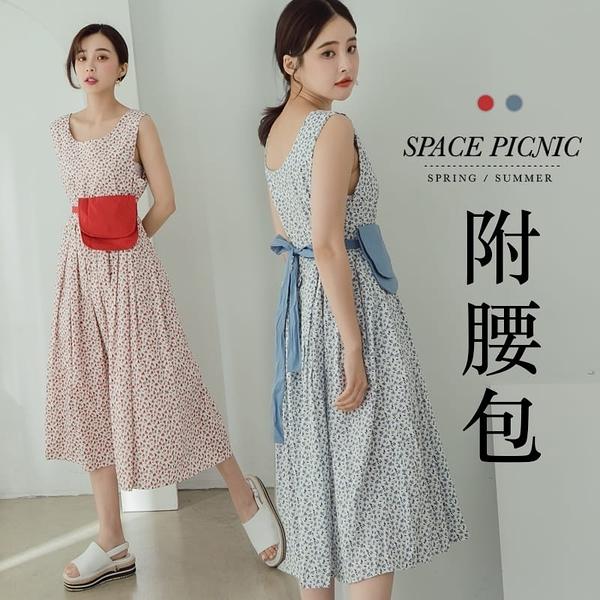 洋裝 Space Picnic|小花百摺肩帶長洋裝-附腰包(現貨)【C20062016】