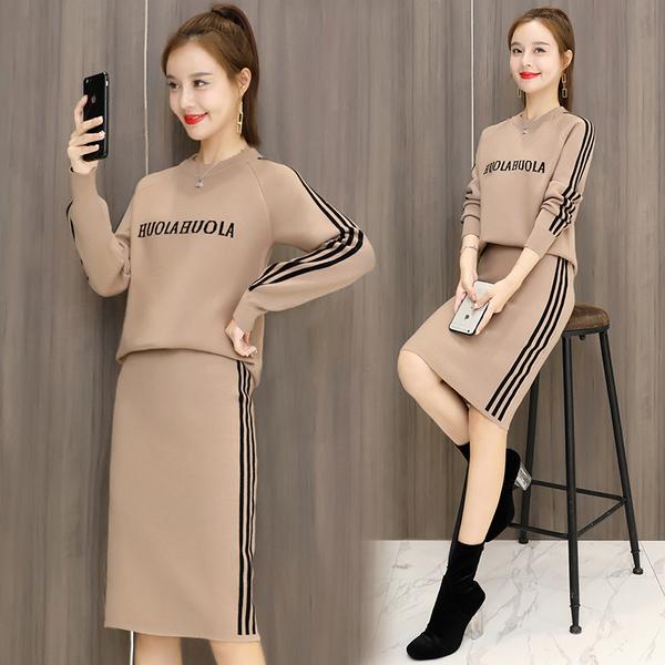 絕版出清 韓系小香風針織字母上衣半裙套裝長袖裙裝