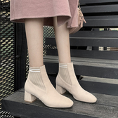 粗跟短靴女秋冬季單靴2019新款ins網紅百搭瘦瘦靴短筒中跟及裸靴