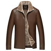 新款秋冬季中老年皮衣男立領夾克皮毛一體加絨加厚爸爸裝外套   易家樂