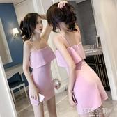 小眾洋裝女2020新款韓版小性感夜店女裝一字領漏肩吊帶短裙子女 韓語空間