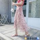 長裙 系帶魚尾裹裙一片式半身裙女夏季海邊沙灘裙荷葉邊雪紡碎花中長裙 維多原創