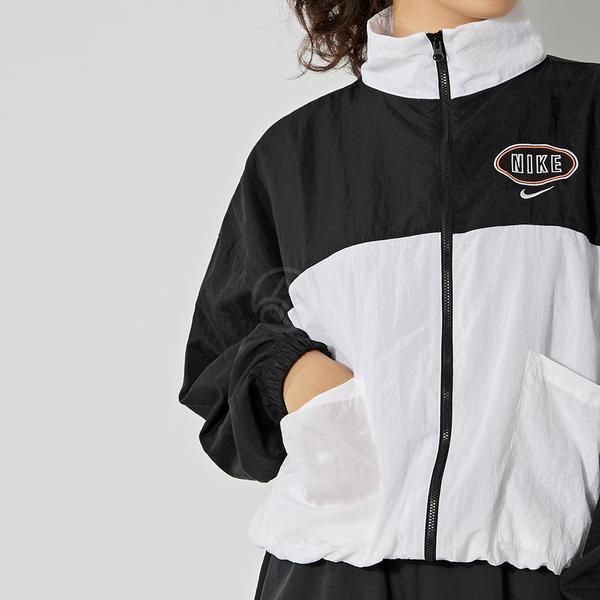 Nike NSW Varsity JKT 女 黑白 風衣 長袖 外套 CZ8319-010