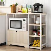雙層加寬廚架子碗櫃組合電飯鍋帶門微波爐架木制整理架廚房置物架QM 美芭
