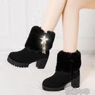 粗跟靴歐美冬季新款高跟鞋馬丁靴女短靴雪地棉大棉毛毛女靴加絨加厚女 快速出貨