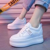 增高鞋內增高小白鞋女夏季新款百搭厚底夏款休閒鞋鬆糕鞋子潮鞋透氣