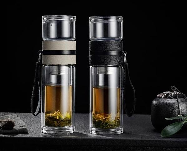 茶水分離泡茶杯定制雙層過濾玻璃杯創意個性男女便攜夏天花茶水杯 小明同學