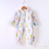 中大尺碼嬰兒爬行服  連體衣秋冬季加厚棉衣寶寶夾棉保暖紗布3-12個月 KB10725【歐爸生活館】