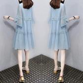 夏裝新品新款女韓式寬鬆裙子A字娃娃裙大尺碼雪紡洋裝中長版(S-4XL)2色可選