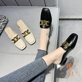 包頭半拖鞋女外穿金屬扣方頭中粗跟皮拖鞋穆勒鞋【橘社小鎮】