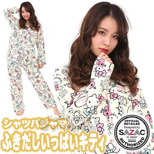 〔小禮堂〕Hello Kitty 長袖居家服套裝《黃.襯衫.蛋糕.愛心蘋果.牛奶》100%純棉 4560419-60016
