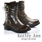★2016秋冬★Keeley Ann街頭百搭雙繫帶綁帶真皮短靴(咖啡色) -Ann系列