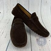 BRAND楓月 TOD S 深棕色 咖啡色 麂皮 豆豆鉚釘 皮鞋 樂福鞋 平底鞋 男士配件 男款 美規#6.5