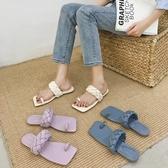 涼拖鞋女外穿夏新款潮學生百搭網紅平底套趾一字拖女 - 歐美韓熱銷