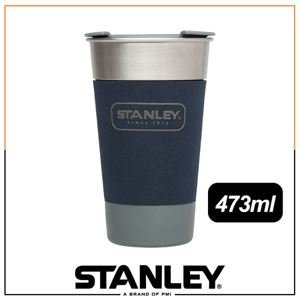 【Stanley 美國 SS Pint 冒險系列酒壺473ml《錘紋藍》】10-01703/隨身杯/飲料杯/不鏽鋼杯