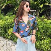 (YY-1263)復古印花短袖襯衣學生度假風翻領休閒襯衫